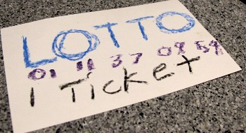 Lotto ticket, drawn in crayon
